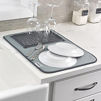 Polder Microfibre Dish Drying Mat and Glass Tray alt image 2