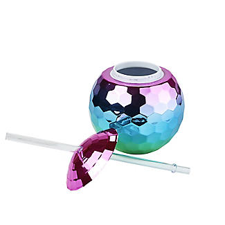 Disco Ball Cocktail Cup and Straw