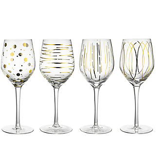 Mikasa Gold Etched Wine Glasses – Set of 4