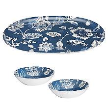 Summer Blooms Melamine Oval Platter with 2 Dip Bowls