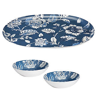 Summer Blooms Melamine Oval Platter with 2 Dip Bowls