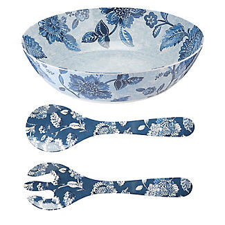 Summer Blooms Melamine Salad Bowl with Salad Servers