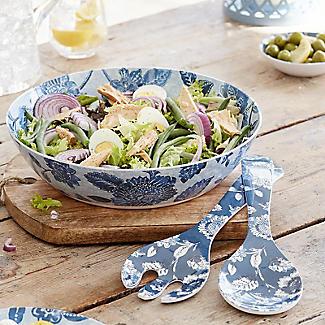 Summer Blooms Melamine Salad Bowl With Salad Servers alt image 2