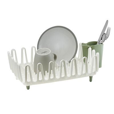 Ilo Clam Shell Small Dish Drainer Rack White And Sage Green Lakeland