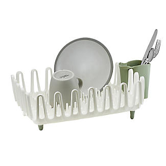 ILO Clam Shell Small Dish Drainer Rack White and Sage Green