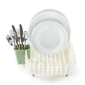 ILO Clam Shell Small Dish Drainer Rack White and Sage Green alt image 3