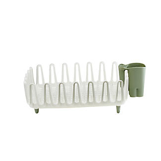 ILO Clam Shell Small Dish Drainer Rack White and Sage Green alt image 4