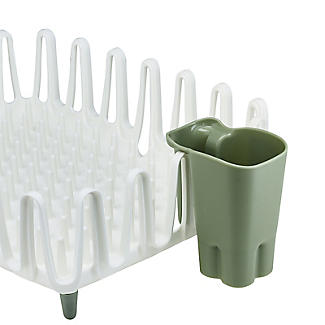 ILO Clam Shell Small Dish Drainer Rack White and Sage Green alt image 5