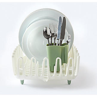 ILO Clam Shell Small Dish Drainer Rack White and Sage Green alt image 6