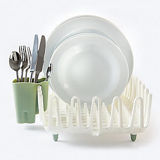 ILO Clam Shell Small Dish Drainer Rack White and Sage Green alt image 7