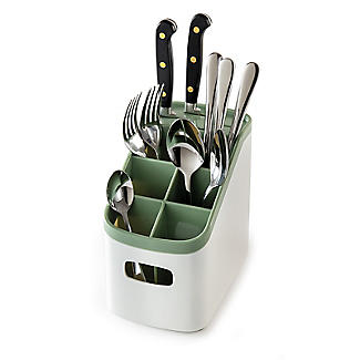 ILO Cutlery Holder and Drainer White and Sage Green