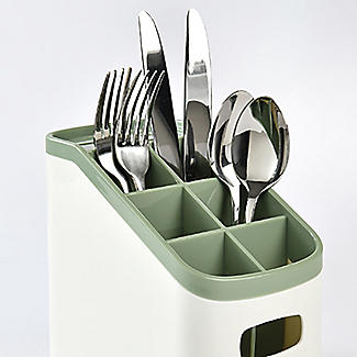 ILO Cutlery Holder and Drainer White and Sage Green alt image 3
