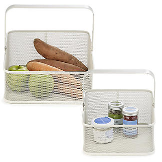 2 Folding Handle Mesh Kitchen Storage Baskets