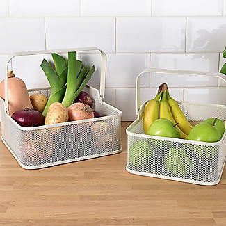 2 Folding Handle Mesh Kitchen Storage Baskets alt image 3