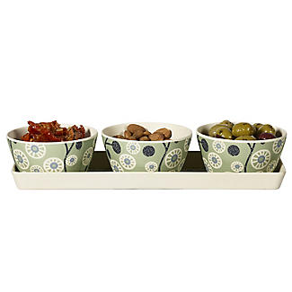 Lakeland Cherry Flower Bamboo Dip Bowl Set