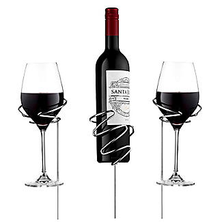 Picnic Stix Garden Stakes for Wine Bottle and 2 Glasses