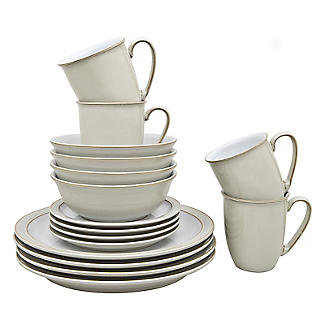 Denby Pottery Linen 16-Piece Tableware Set