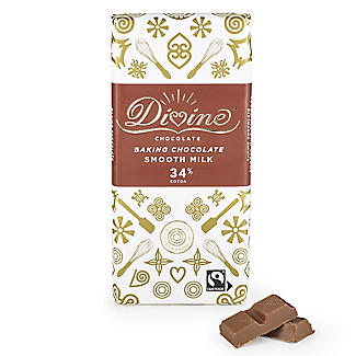 Divine 34% Cocoa Smooth Milk Baking Chocolate Bar 150g alt image 1