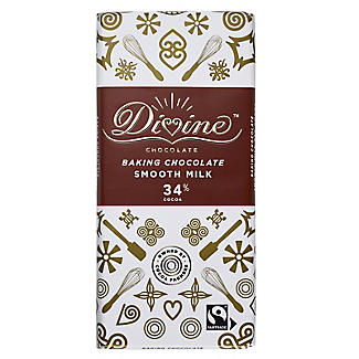 Divine 34% Cocoa Smooth Milk Baking Chocolate Bar 150g alt image 2