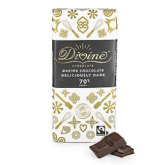 Divine 70% Cocoa Deliciously Dark Baking Chocolate Bar 150g alt image 1