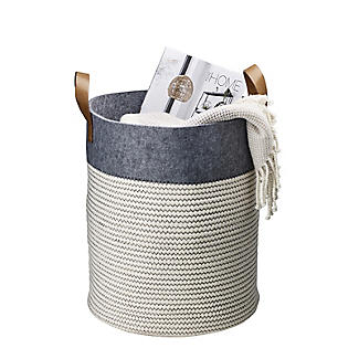 Large 54L Tidy Tote Rope Basket with Handles