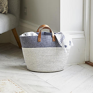Large 54L Tidy Tote Rope Basket with Handles alt image 2