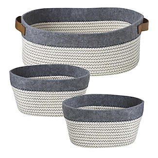 3 Tidy Tote Rope Storage Baskets