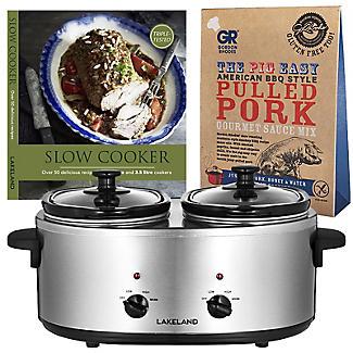 2 Pot Slow Cooker with Recipe Book & Sauce Mix