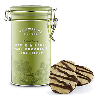 Cartwright & Butler Maple & Pecan Dark Chocolate Digestives Tin 200g alt image 1