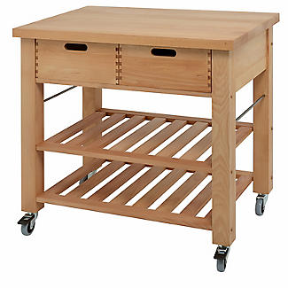Eddingtons Lambourn Beechwood Kitchen Trolley 2 Drawer 90cm alt image 1