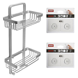 Tatay Double Basket Shower Caddy and Quick Fix Wall System Bundle