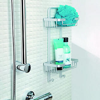 Tatay Double Basket Shower Caddy and Quick Fix Wall System Bundle alt image 2