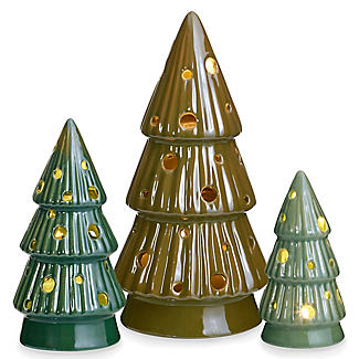 3 LED Ceramic Christmas Trees Decoration