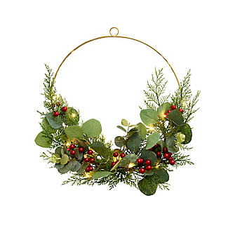 LED Festive Foliage Wreath Hoop Decoration