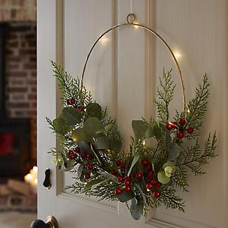 LED Festive Foliage Wreath Hoop Decoration alt image 2