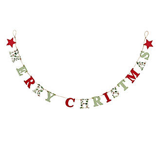 Lakeland Evergreen Traditional Merry Christmas Bunting