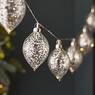 1.8m Glass Vintage Christmas Bauble Light String alt image 2