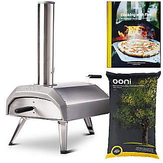Ooni Karu Outdoor Pizza Oven UU-P0A100 with 10kg Wood Pellets and Cooking With Fire Book