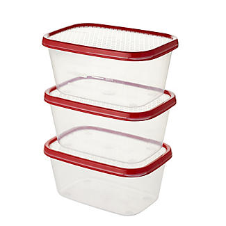 Lakeland 3pc Colour Match Lidded Food Storage Containers 1L