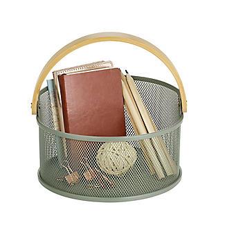 Lakeland Round Mesh Storage Basket with Bamboo Handle