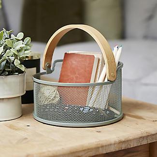 Lakeland Round Mesh Storage Basket with Bamboo Handle alt image 2