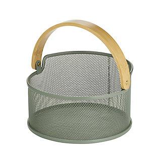 Lakeland Round Mesh Storage Basket with Bamboo Handle alt image 3