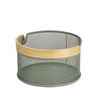 Lakeland Round Mesh Storage Basket with Bamboo Handle alt image 4