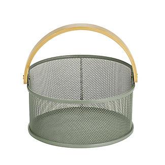 Lakeland Round Mesh Storage Basket with Bamboo Handle alt image 5
