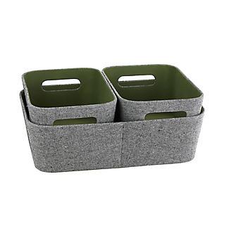Lakeland 3 Grey & Green Storage Baskets