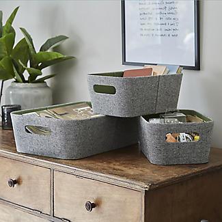 Lakeland 3 Grey & Green Storage Baskets alt image 2
