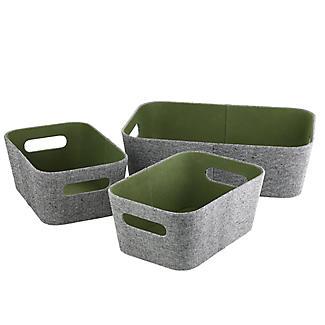 Lakeland 3 Grey & Green Storage Baskets alt image 4