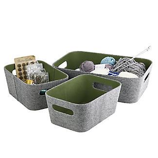 Lakeland 3 Grey & Green Storage Baskets alt image 5