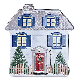 Lakeland Embossed Christmas Cottage Biscuit Tin – 400g