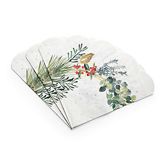 20 Lakeland Evergreen Traditional Christmas Scalloped Paper Napkins